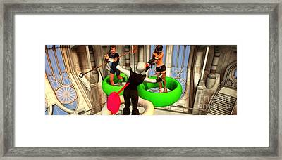 Space Station Alien Anti-gravity Panoramic With Weapons Framed Print by Stanley Morganstein
