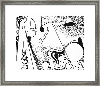 Framed Print featuring the drawing Spacewalk by Christine Perry