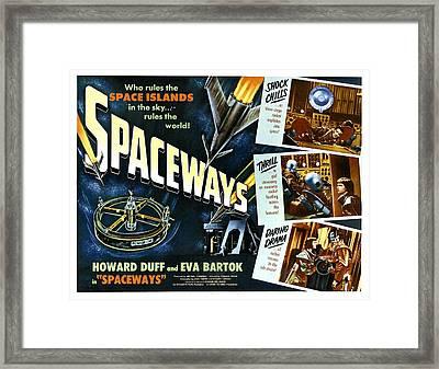 Spaceways, Howard Duff, Eva Bartok Framed Print