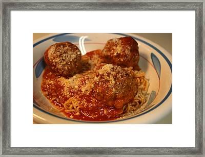 Spaghetti And Meatballs Framed Print by Anne Babineau