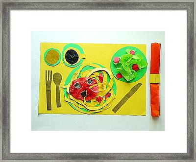 Spaghetti Paper Dinner Framed Print by Ward Smith