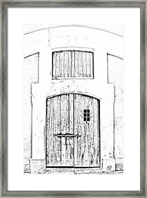 Spanish Fort Door Castillo San Felipe Del Morro San Juan Puerto Rico Prints Black And White Line Art Framed Print