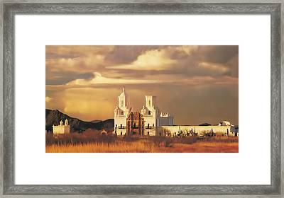 Spanish Mission Framed Print by Walter Colvin