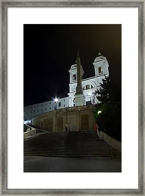 Spanish Steps At Night Framed Print