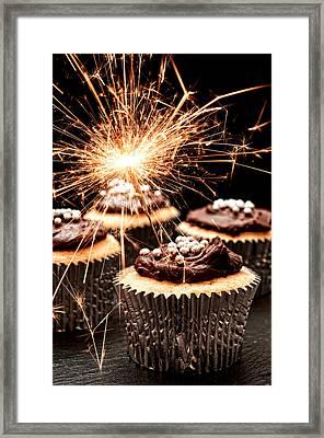 Sparkler Cupcakes Framed Print by Amanda Elwell