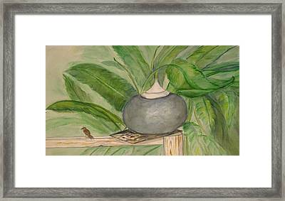 Sparrow And Ginger Framed Print by Marian Hebert
