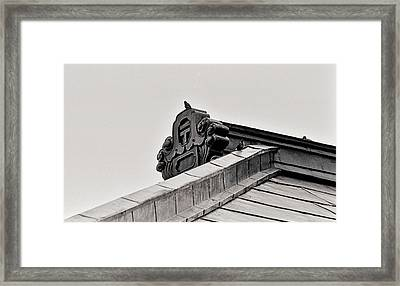 Framed Print featuring the photograph Sparrows Enjoy The Copper Roof by Craig Wood