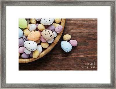 Speckled Chocolate Easter Eggs In A Basket  Framed Print by Richard Thomas