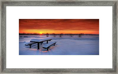 Spectaculat Winter Sunset Framed Print by Jaroslaw Grudzinski