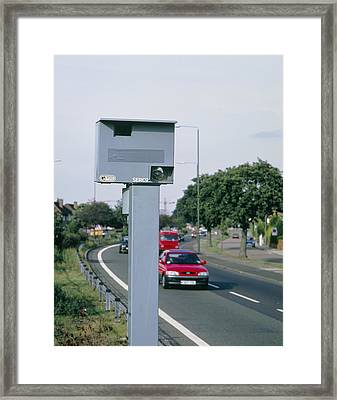 Speed Camera By Side Of Dual Carriageway Framed Print by David Parker