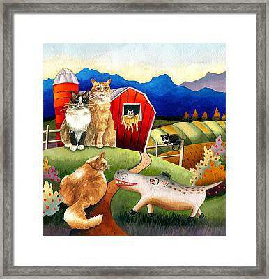 Spike The Dhog Meets Some Well Fed Barncats Framed Print by Anne Gifford