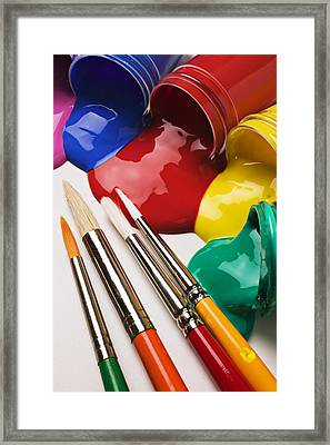 Spilt Paint And Brushes  Framed Print by Garry Gay