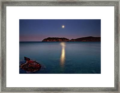 Spinalonga Full Moon Framed Print by Christos Tsoumplekas