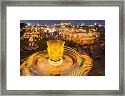 Spinning Carnival Rides At The Kansas Framed Print