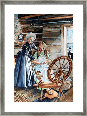 Spinning Wheel Lessons Framed Print