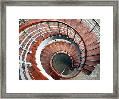 Spiraling Staircase Seen  From Above Framed Print by Yali Shi