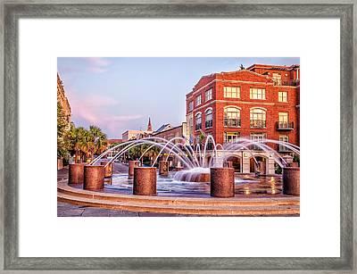 Splash Fountain In Waterfront Park Framed Print by Vanessa Kauffmann