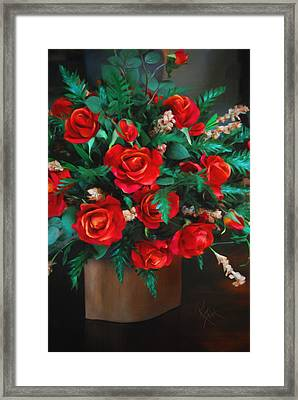 Splashes Of Red Framed Print