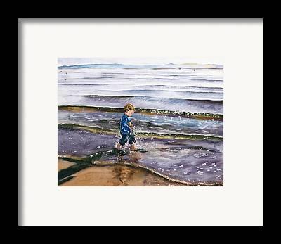 Little Boy In Tide Framed Prints