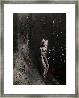 Framed Print featuring the painting Splattered Nude Young Female In Gritty City Alley In Black And White And Red by M Zimmerman
