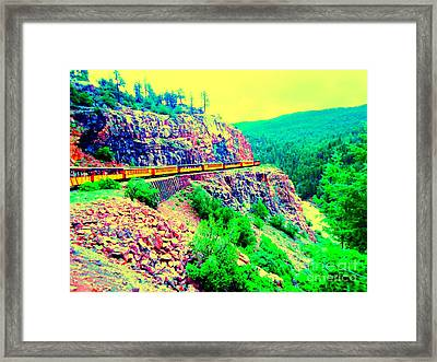 Framed Print featuring the photograph Splendid View From The Last Train Car by Ann Johndro-Collins