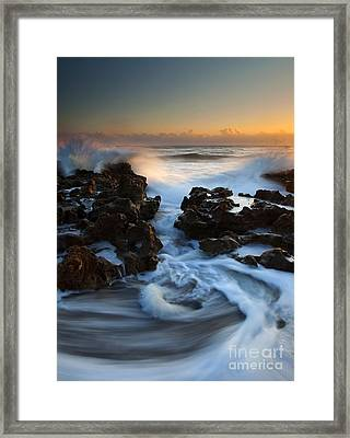 Splitting The Reef Framed Print by Mike  Dawson