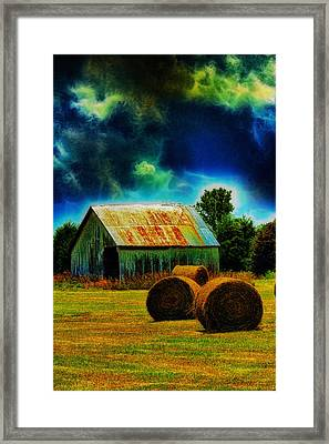 Spooky Hay Field Framed Print by Bill Tiepelman