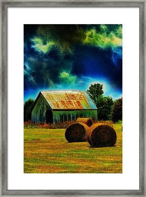 Spooky Hay Field Framed Print by Bill Tiepelman