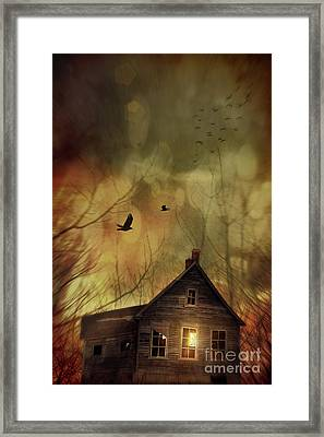 Spooky House At Sunset  Framed Print