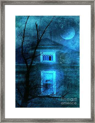 Spooky House With Moon Framed Print by Jill Battaglia