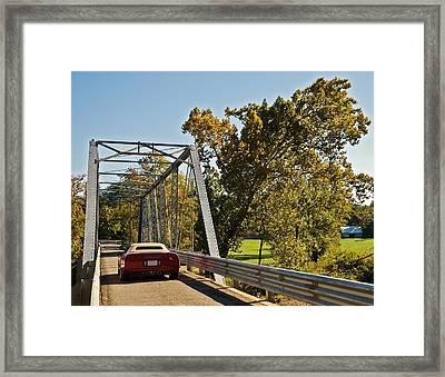 Framed Print featuring the photograph Sports Car On A Bridge by Susan Leggett
