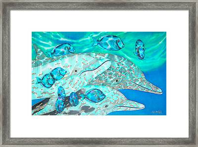 Spotted Dolphins And Blue Tang Framed Print by Daniel Jean-Baptiste