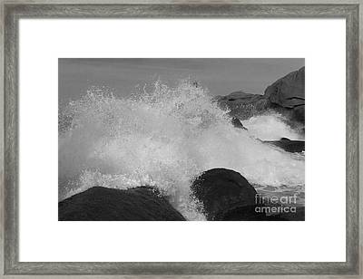 Spray Of Waves Black And White Framed Print by Heiko Koehrer-Wagner
