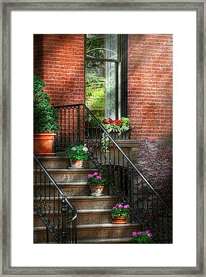 Spring - Porch - Hoboken In Spring Framed Print by Mike Savad