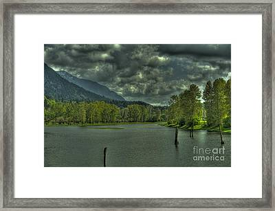 Spring Clouds At The Nicomen Slough Framed Print by Rod Wiens