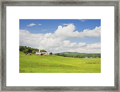 Spring Farm And Hay Field With Blue Sky Maine Framed Print