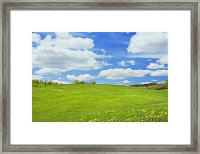 Spring Farm Landscape With Blue Sky In Maine Framed Print