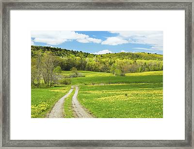 Spring Farm Landscape With Dirt Road In Maine Framed Print