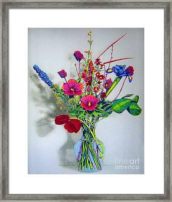 Spring Flowers In Glass Vase Framed Print by Merton Allen