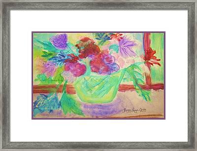Vibrant Flowers In Pot Framed Print by Peggy Leyva Conley