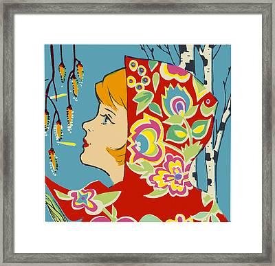 Spring Girl Poster Framed Print