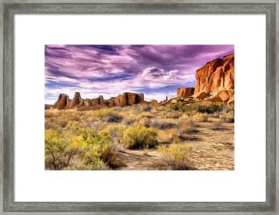 Spring Rain At Chaco Canyon Framed Print