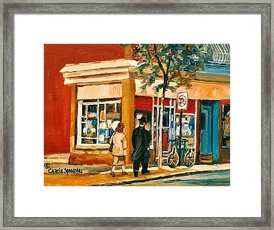Spring Time In Montreal City Scene Framed Print by Carole Spandau