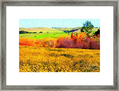 Springtime In The Golden Hills . 7d12402 Framed Print by Wingsdomain Art and Photography