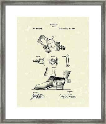 Spur 1877 Patent Art Framed Print by Prior Art Design