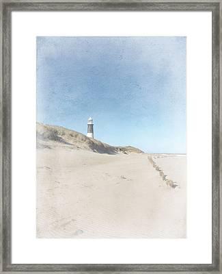 Spurn Point Lighthouse Texture Framed Print