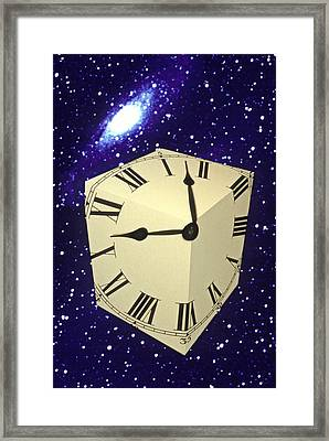 Square Clock In Space Framed Print by Garry Gay