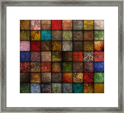 Square Earth Tone Texture Background Framed Print by Angela Waye