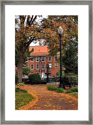 Square In Lisbon Ohio Framed Print by Michelle Joseph-Long