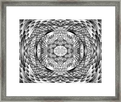 Square To Oval Abstract Bw Framed Print by Linda Phelps